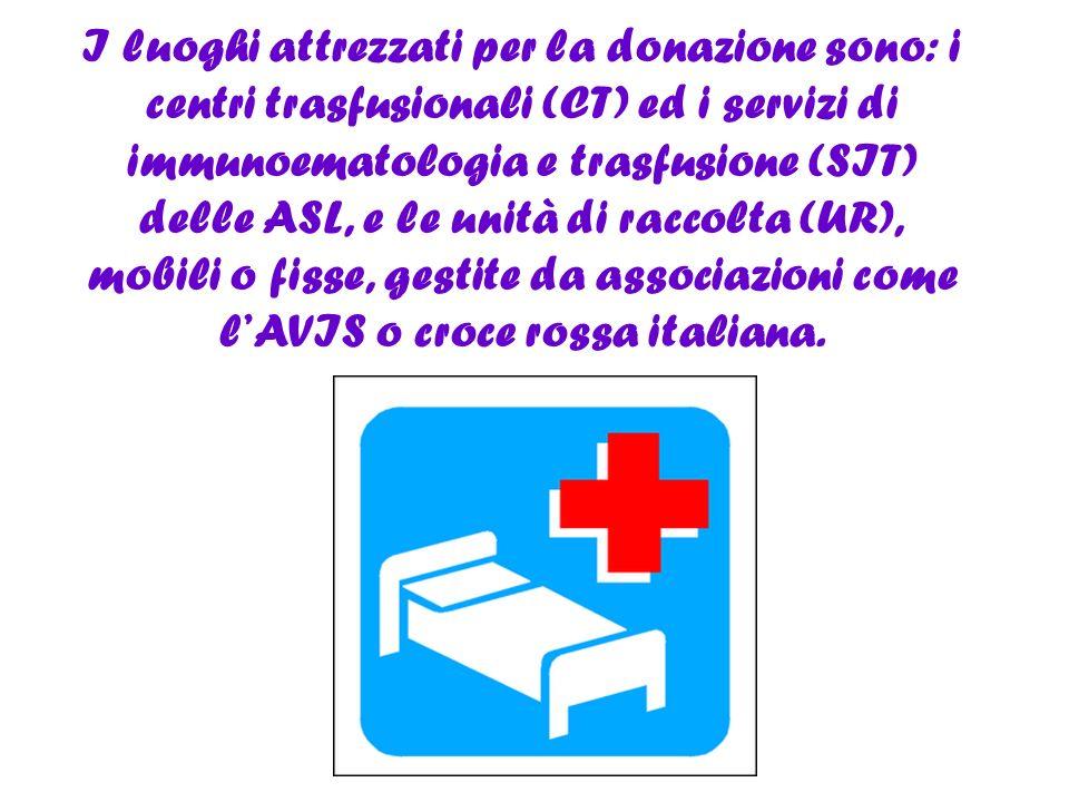 I luoghi attrezzati per la donazione sono: i centri trasfusionali (CT) ed i servizi di immunoematologia e trasfusione (SIT) delle ASL, e le unità di r