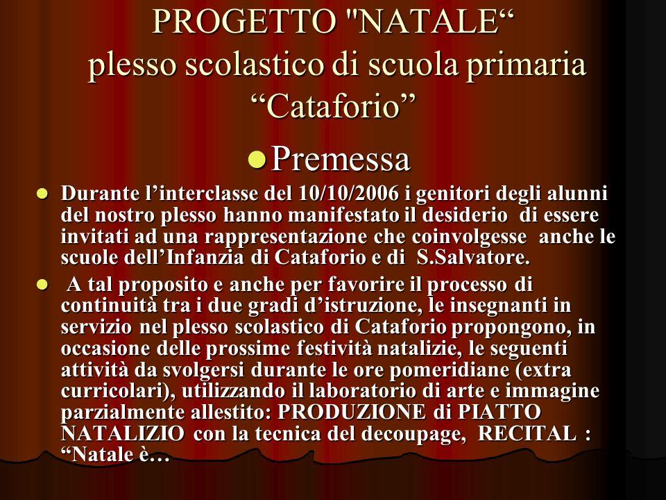 Finalità Finalità Coinvolgere i genitori e i bambini dellultimo anno della scuola dellInfanzia di Cataforio e San Salvatore.
