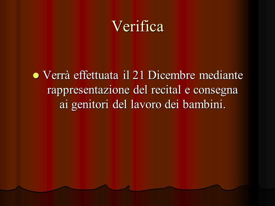 Verifica Verrà effettuata il 21 Dicembre mediante rappresentazione del recital e consegna ai genitori del lavoro dei bambini. Verrà effettuata il 21 D
