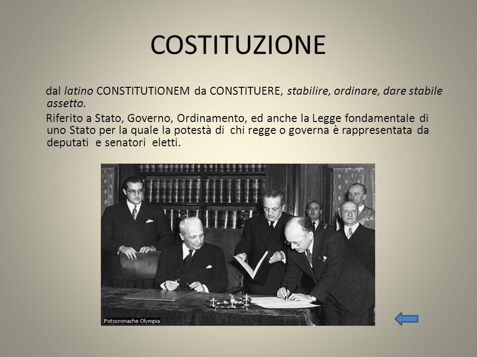 COSTITUZIONE dal latino CONSTITUTIONEM da CONSTITUERE, stabilire, ordinare, dare stabile assetto. Riferito a Stato, Governo, Ordinamento, ed anche la