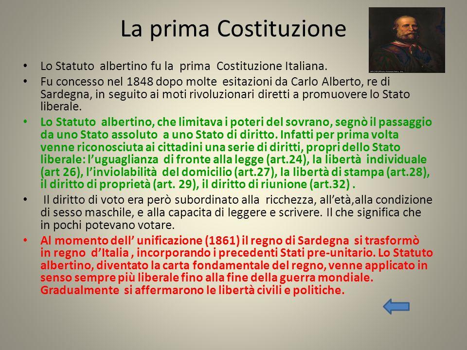 La prima Costituzione Lo Statuto albertino fu la prima Costituzione Italiana. Fu concesso nel 1848 dopo molte esitazioni da Carlo Alberto, re di Sarde