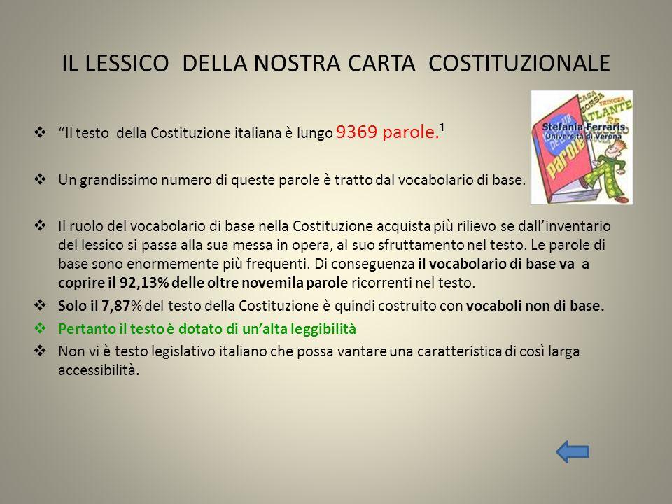 IL LESSICO DELLA NOSTRA CARTA COSTITUZIONALE Il testo della Costituzione italiana è lungo 9369 parole.¹ Un grandissimo numero di queste parole è tratt