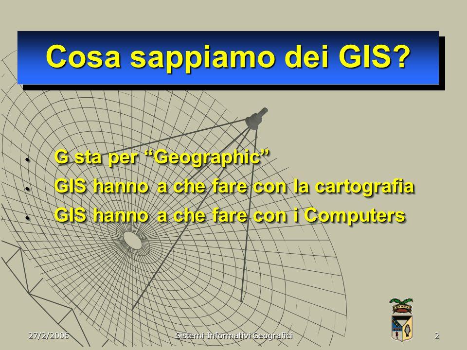 27/2/2006 Sistemi Informativi Geografici 3 Software per la manipolazione di dati Geografici …..