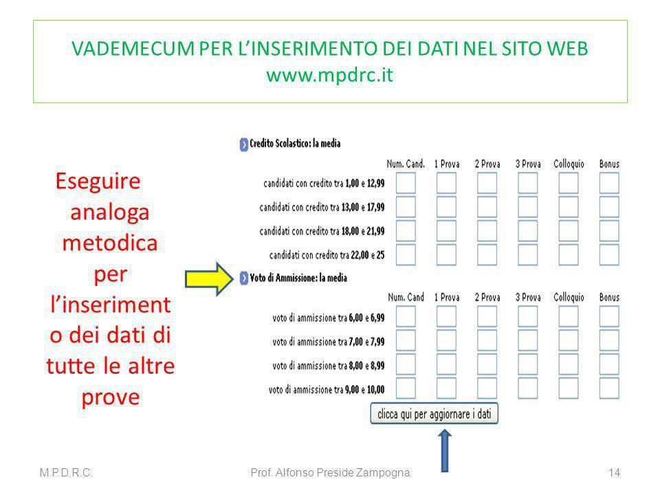VADEMECUM PER LINSERIMENTO DEI DATI NEL SITO WEB www.mpdrc.it Eseguire analoga metodica per linseriment o dei dati di tutte le altre prove M.P.D.R.C.P