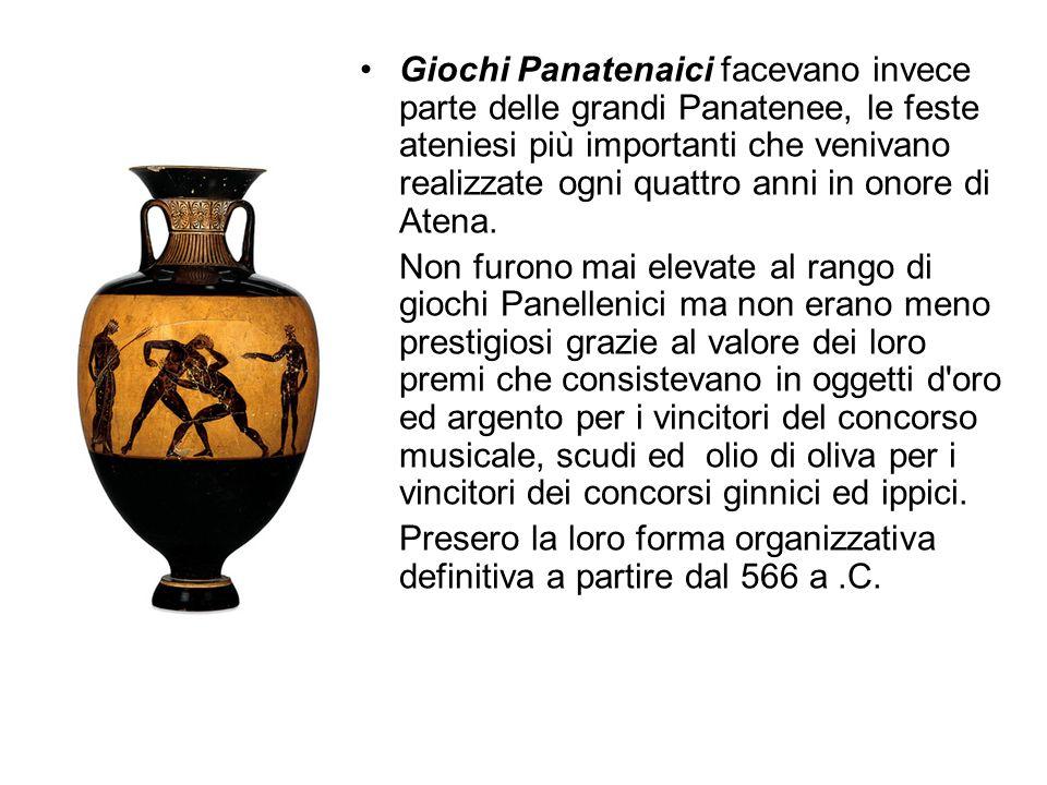 Giochi Panatenaici facevano invece parte delle grandi Panatenee, le feste ateniesi più importanti che venivano realizzate ogni quattro anni in onore d