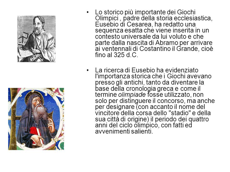 Lo storico più importante dei Giochi Olimpici, padre della storia ecclesiastica, Eusebio di Cesarea, ha redatto una sequenza esatta che viene inserita