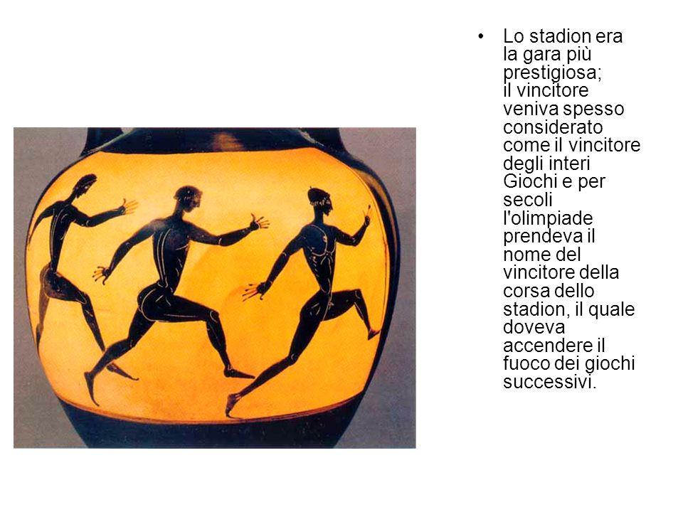 Lo stadion era la gara più prestigiosa; il vincitore veniva spesso considerato come il vincitore degli interi Giochi e per secoli l'olimpiade prendeva