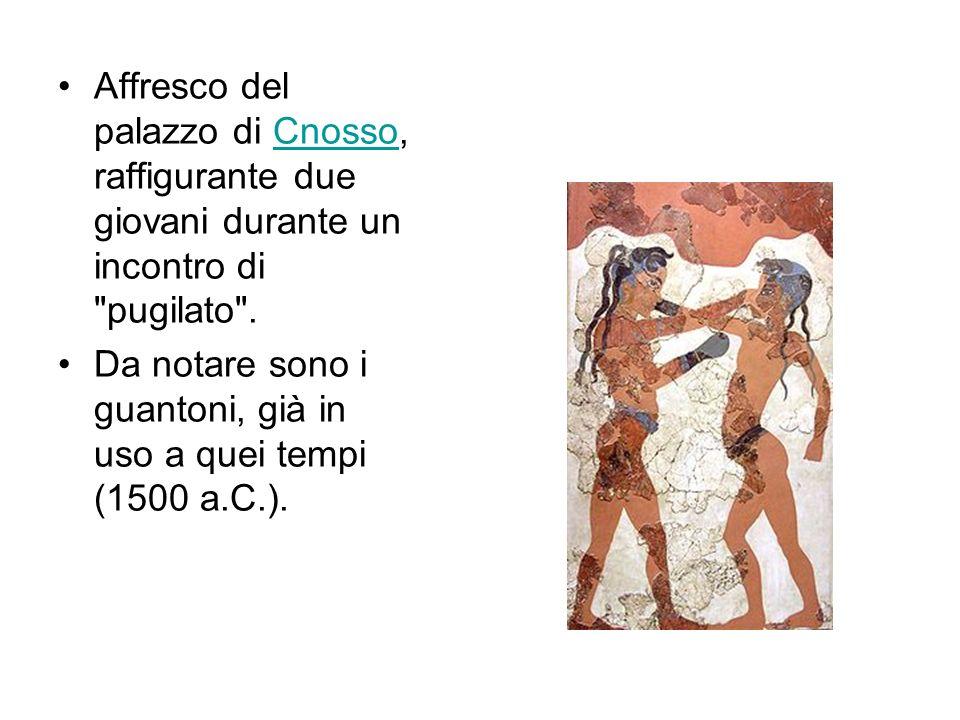 Affresco del palazzo di Cnosso, raffigurante due giovani durante un incontro di