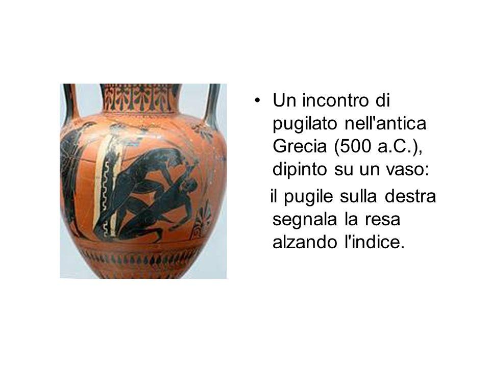 Un incontro di pugilato nell'antica Grecia (500 a.C.), dipinto su un vaso: il pugile sulla destra segnala la resa alzando l'indice.