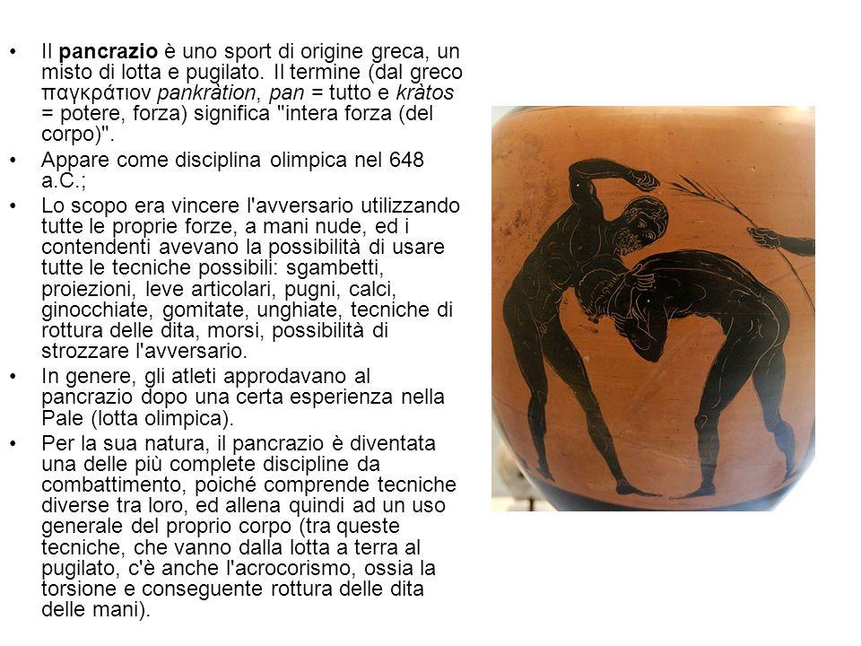 Il pancrazio è uno sport di origine greca, un misto di lotta e pugilato. Il termine (dal greco παγκράτιον pankràtion, pan = tutto e kràtos = potere, f