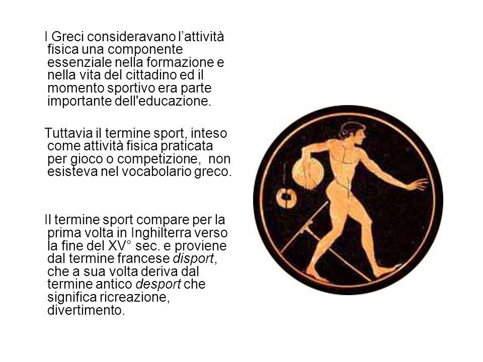 I Greci per designare tali attività usavano i seguenti termini gymnastique (da gymnos, nudo) perché gli atleti si confrontavano nudi, agon (concorso, lotta, emulazione) athlon (sforzo, lotta) athlos (combattimento, exploit) da cui gli aggettivi agonistico e atletico .