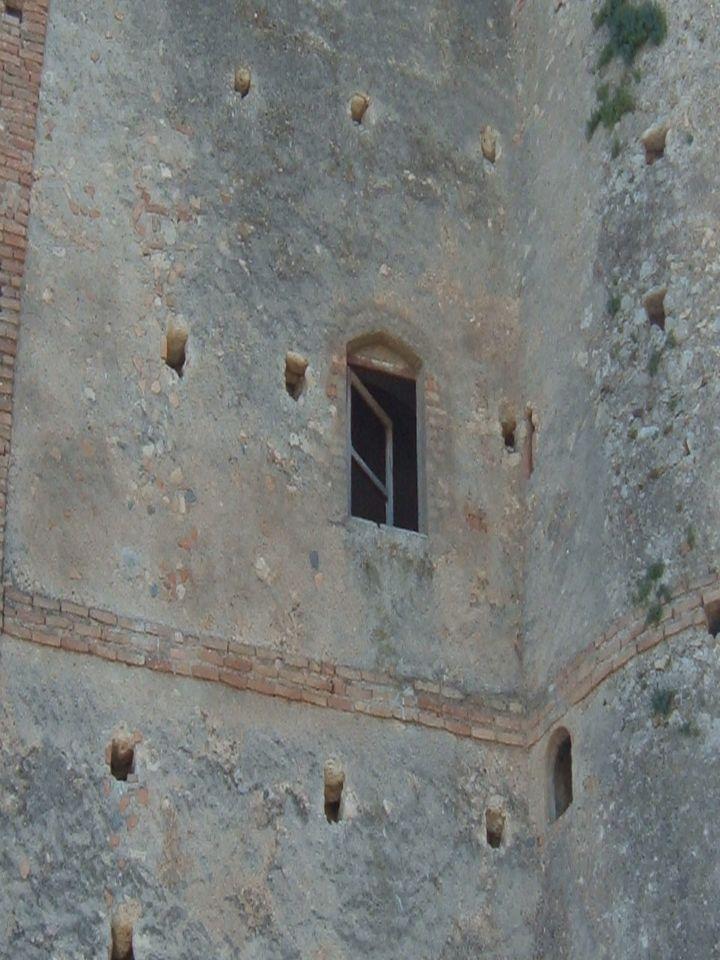residenza,sia pure secondaria e rurale,del signore del luogo. Alta ed elegante,la torre ha pianta quadrata ed è affiancata da due torrioni cilindrici