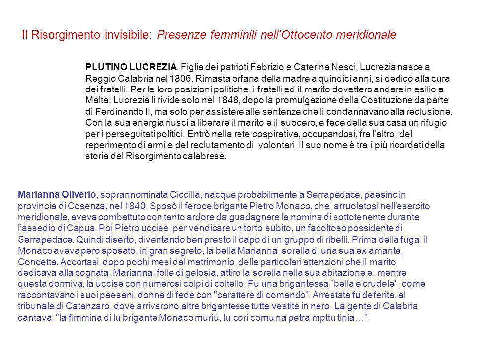 Il Risorgimento invisibile: Presenze femminili nell Ottocento meridionale PLUTINO LUCREZIA.