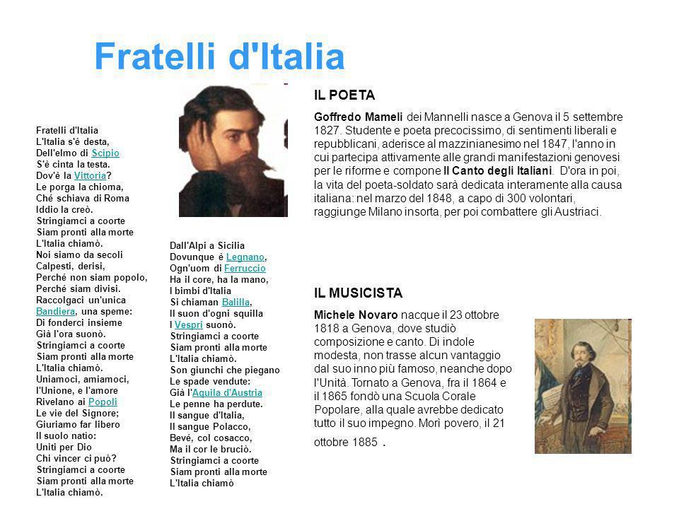 Fratelli d'Italia Fratelli d'Italia L'Italia s'è desta, Dell'elmo di Scipio S'è cinta la testa. Dov'è la Vittoria? Le porga la chioma, Ché schiava di