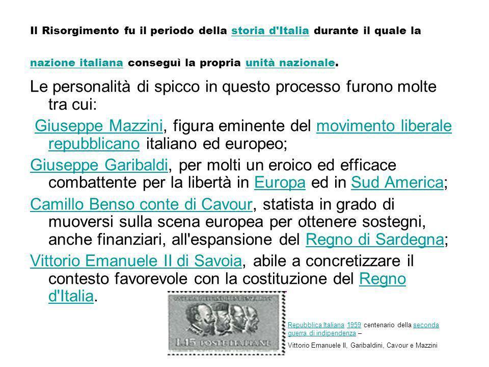 Il Risorgimento fu il periodo della storia d'Italia durante il quale la nazione italiana conseguì la propria unità nazionale.storia d'Italia nazione i