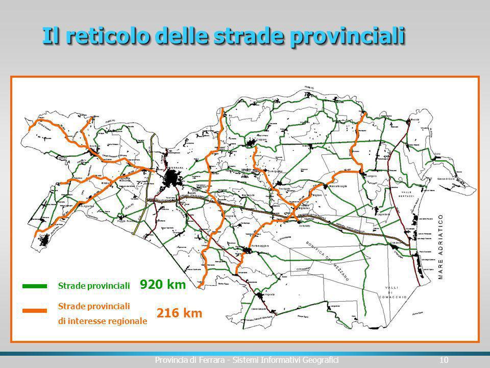 Provincia di Ferrara - Sistemi Informativi Geografici10 Il reticolo delle strade provinciali Strade provinciali di interesse regionale 216 km 920 km S