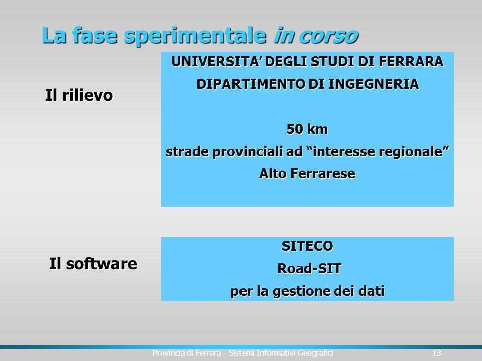 Provincia di Ferrara - Sistemi Informativi Geografici13 La fase sperimentale in corso UNIVERSITA DEGLI STUDI DI FERRARA DIPARTIMENTO DI INGEGNERIA 50