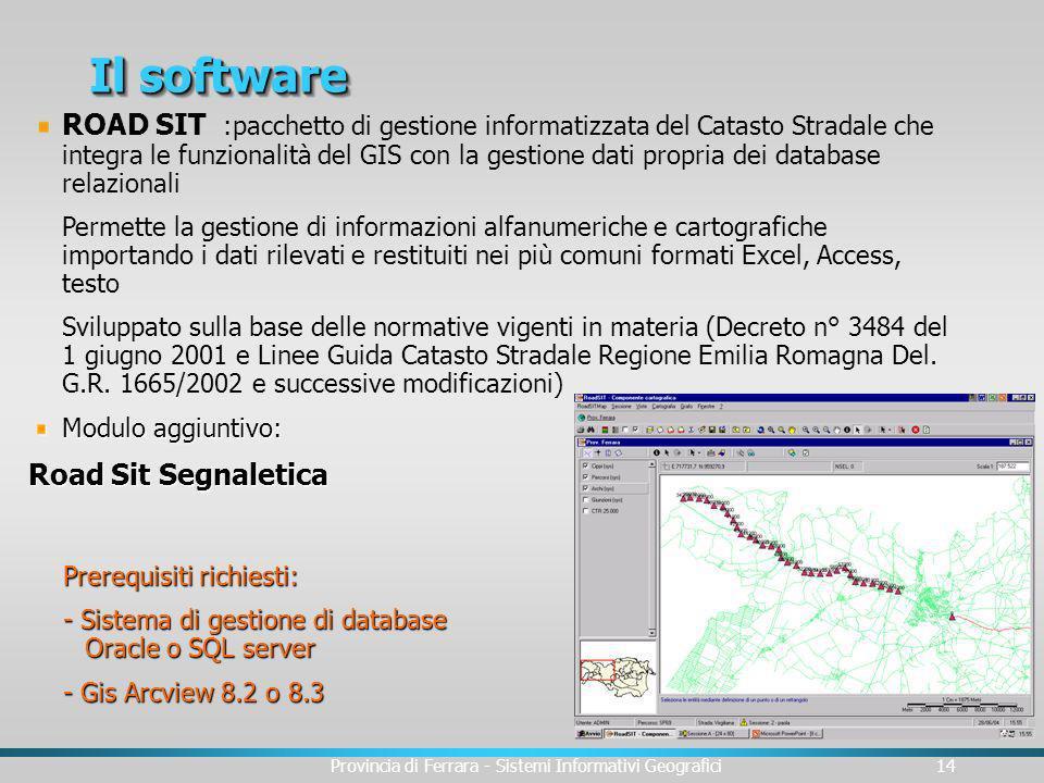 Provincia di Ferrara - Sistemi Informativi Geografici14 Il software Modulo aggiuntivo: Road Sit Segnaletica ROAD SIT :pacchetto di gestione informatiz