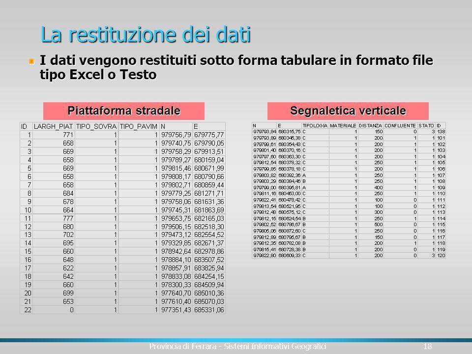 Provincia di Ferrara - Sistemi Informativi Geografici18 La restituzione dei dati I dati vengono restituiti sotto forma tabulare in formato file tipo E