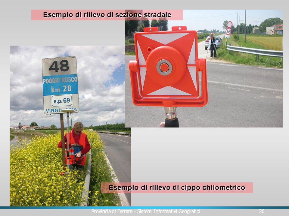 Provincia di Ferrara - Sistemi Informativi Geografici20 Esempio di rilievo di cippo chilometrico Esempio di rilievo di sezione stradale