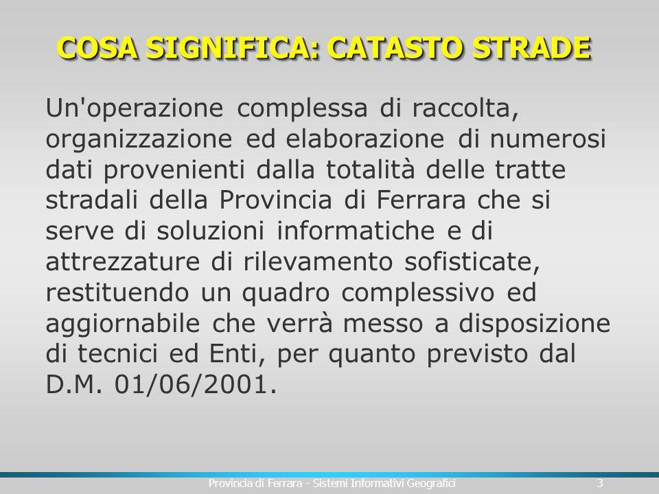 Provincia di Ferrara - Sistemi Informativi Geografici3 COSA SIGNIFICA: CATASTO STRADE Un'operazione complessa di raccolta, organizzazione ed elaborazi