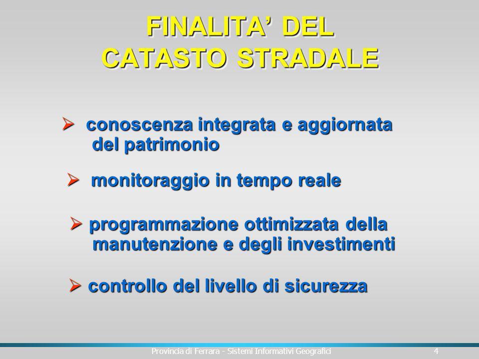 Provincia di Ferrara - Sistemi Informativi Geografici4 conoscenza integrata e aggiornata conoscenza integrata e aggiornata del patrimonio del patrimon