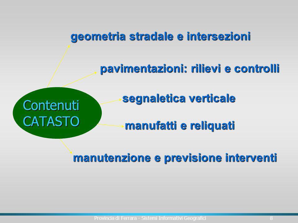Provincia di Ferrara - Sistemi Informativi Geografici9 Data la numerosità degli elementi da acquisire, si è distinto fra: u Elementi obbligatori da acquisire in una prima fase u Elementi facoltativi da acquisire nel tempo EVENTI DA ACQUISIRE