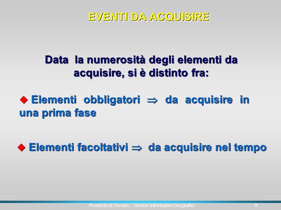 Provincia di Ferrara - Sistemi Informativi Geografici9 Data la numerosità degli elementi da acquisire, si è distinto fra: u Elementi obbligatori da ac