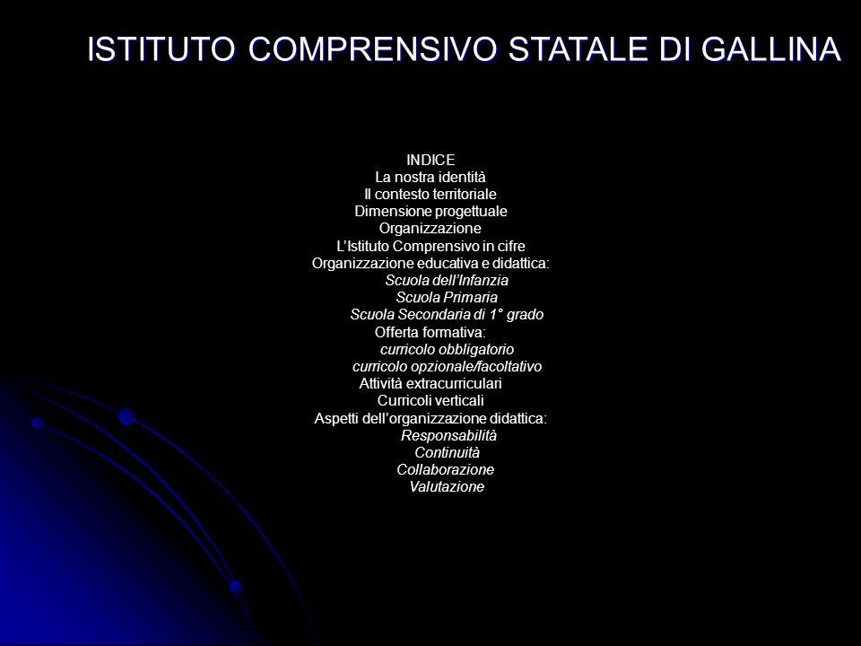 ISTITUTO COMPRENSIVO STATALE DI GALLINA P.O.F. 2006 / 2007 Piazza s. Francesco da Sales - Tel. e Fax 0965/682157 - Email ministeriale: rcic80700@istru