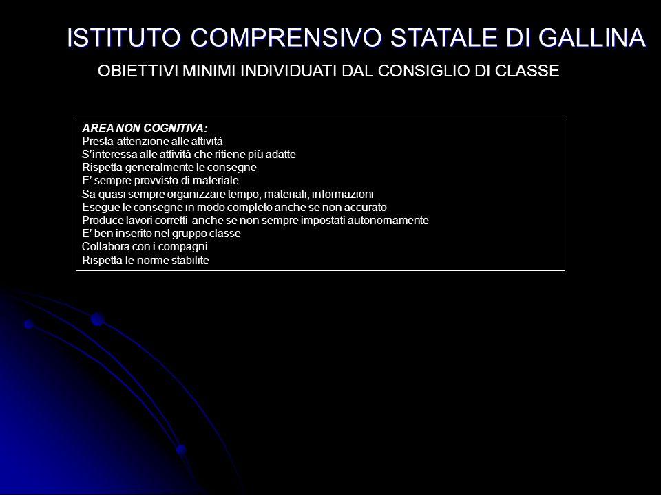 ISTITUTO COMPRENSIVO STATALE DI GALLINA Per le valutazioni delle prove oggettive, come stabilito in ogni Collegio di Classe ed approvato dal Collegio