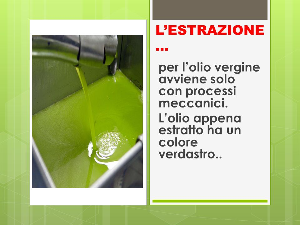 LESTRAZIONE … per lolio vergine avviene solo con processi meccanici. Lolio appena estratto ha un colore verdastro..
