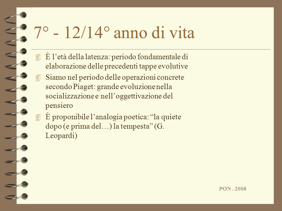 PON. 2008 7° - 12/14° anno di vita 4 È letà della latenza: periodo fondamentale di elaborazione delle precedenti tappe evolutive 4 Siamo nel periodo d