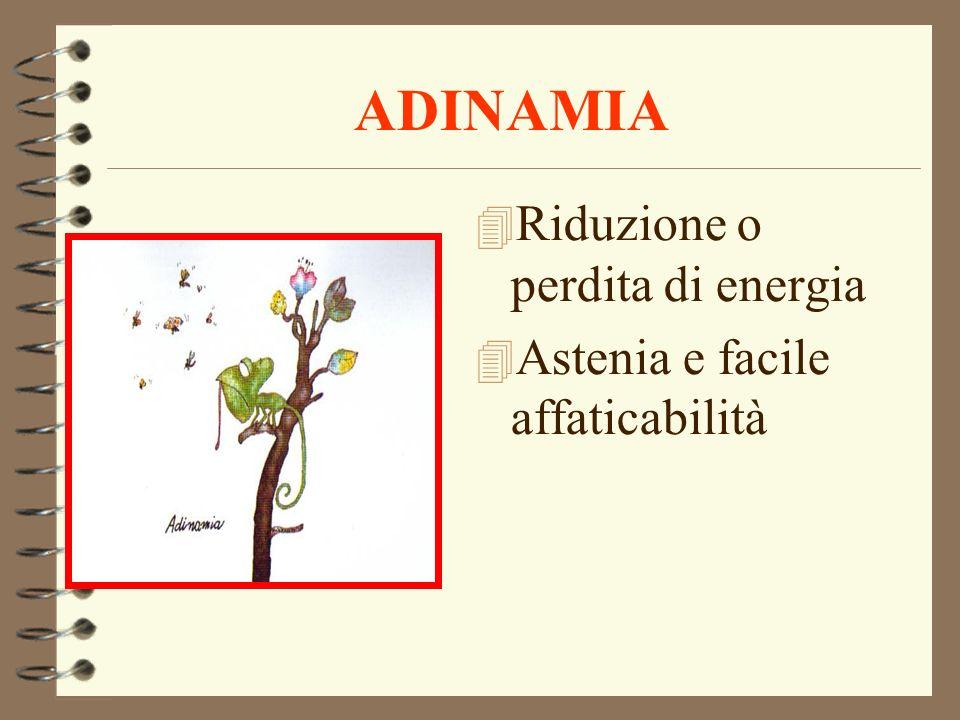 ADINAMIA 4 Riduzione o perdita di energia 4 Astenia e facile affaticabilità