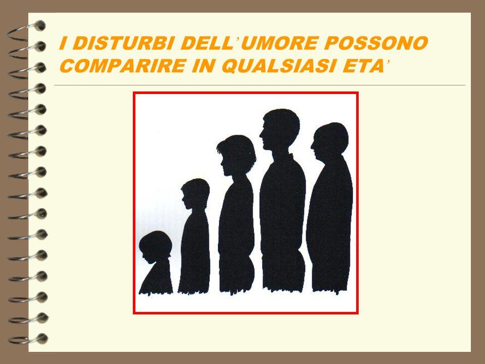 I DISTURBI DELL UMORE POSSONO COMPARIRE IN QUALSIASI ETA