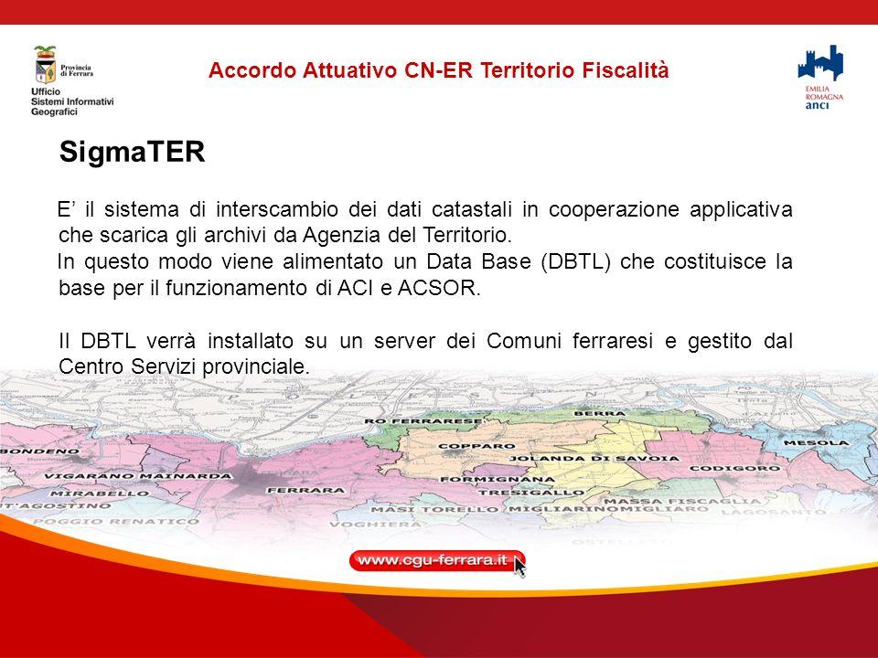 SigmaTER E il sistema di interscambio dei dati catastali in cooperazione applicativa che scarica gli archivi da Agenzia del Territorio.