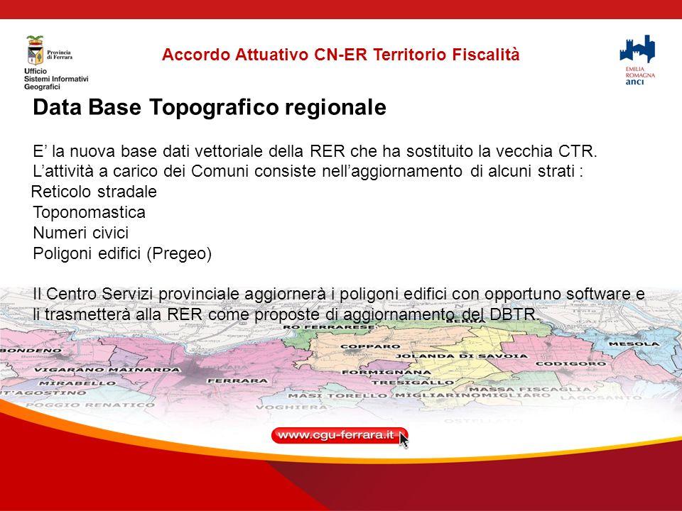 Data Base Topografico regionale E la nuova base dati vettoriale della RER che ha sostituito la vecchia CTR.