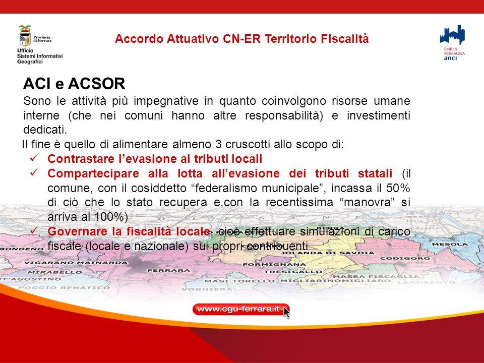 ACI e ACSOR Sono le attività più impegnative in quanto coinvolgono risorse umane interne (che nei comuni hanno altre responsabilità) e investimenti dedicati.