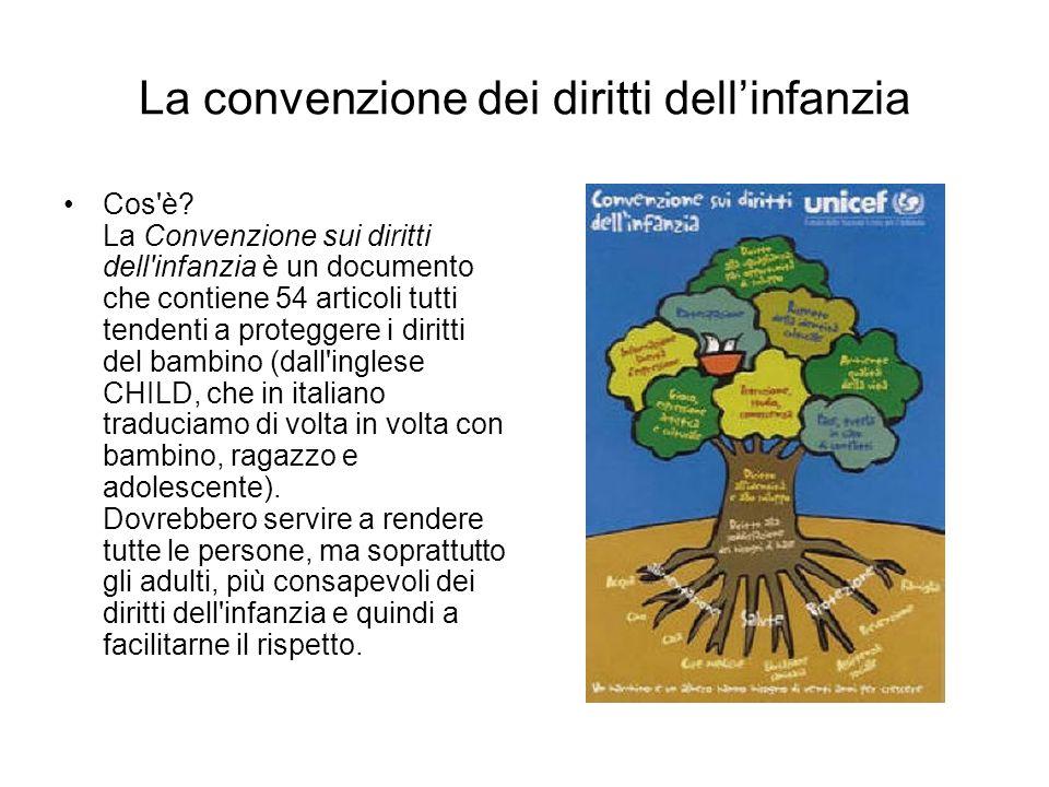 La convenzione dei diritti dellinfanzia Cos'è? La Convenzione sui diritti dell'infanzia è un documento che contiene 54 articoli tutti tendenti a prote