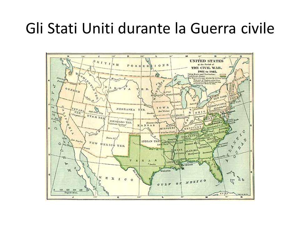 La guerra civile The American Civil War (1861– 1865) Negli Stati Uniti 11 stati (schiavisti) del sud dichiararono la loro secessione dagli Stati Uniti