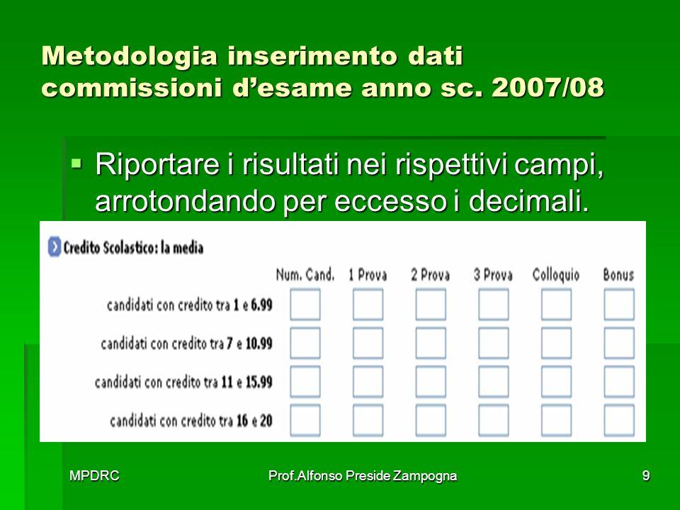 MPDRCProf.Alfonso Preside Zampogna10 Metodologia inserimento dati commissioni desame anno sc.