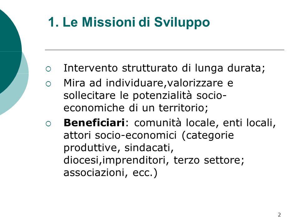 2 1. Le Missioni di Sviluppo Intervento strutturato di lunga durata; Mira ad individuare,valorizzare e sollecitare le potenzialità socio- economiche d