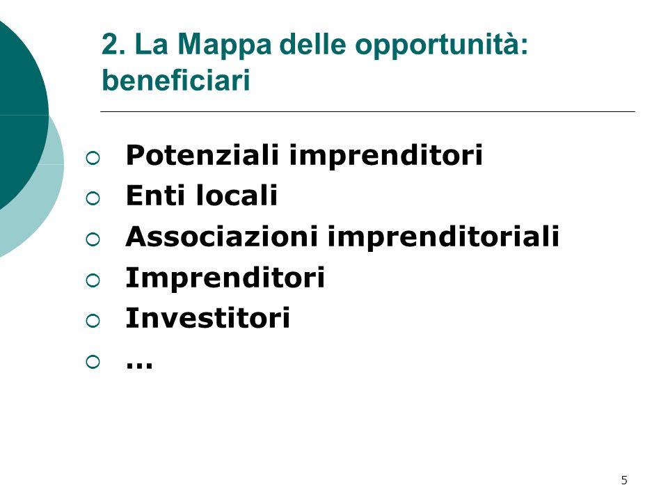 5 2. La Mappa delle opportunità: beneficiari Potenziali imprenditori Enti locali Associazioni imprenditoriali Imprenditori Investitori …