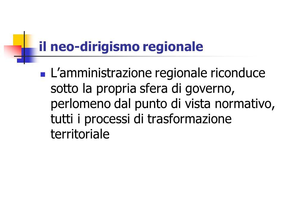 il neo-dirigismo regionale Lamministrazione regionale riconduce sotto la propria sfera di governo, perlomeno dal punto di vista normativo, tutti i pro