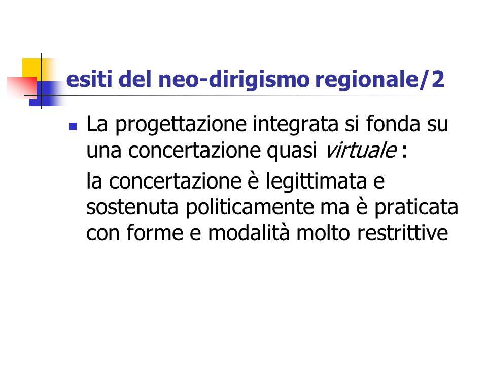 esiti del neo-dirigismo regionale/2 La progettazione integrata si fonda su una concertazione quasi virtuale : la concertazione è legittimata e sostenu