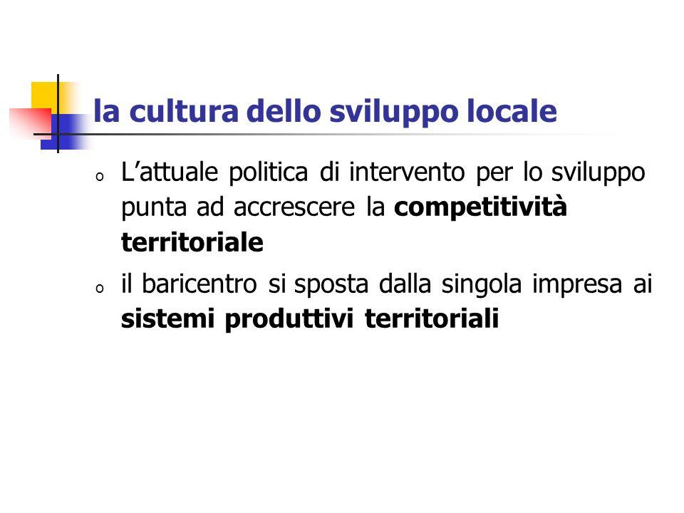 la cultura dello sviluppo locale o Lattuale politica di intervento per lo sviluppo punta ad accrescere la competitività territoriale o il baricentro s
