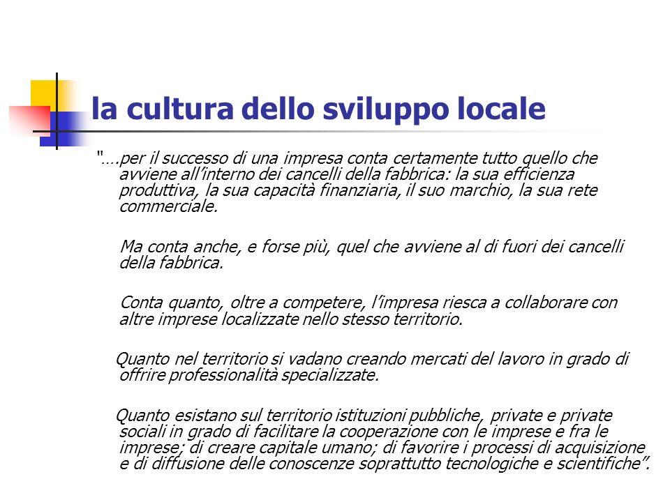 la cultura dello sviluppo locale ….per il successo di una impresa conta certamente tutto quello che avviene allinterno dei cancelli della fabbrica: la