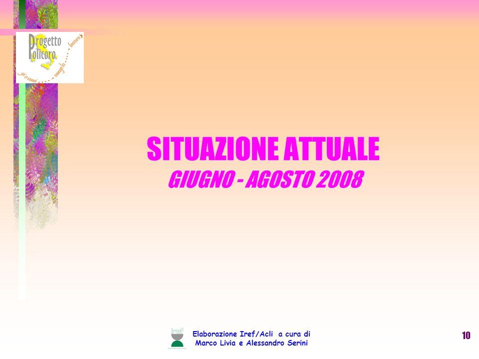 Elaborazione Iref/Acli a cura di Marco Livia e Alessandro Serini 10 SITUAZIONE ATTUALE GIUGNO - AGOSTO 2008