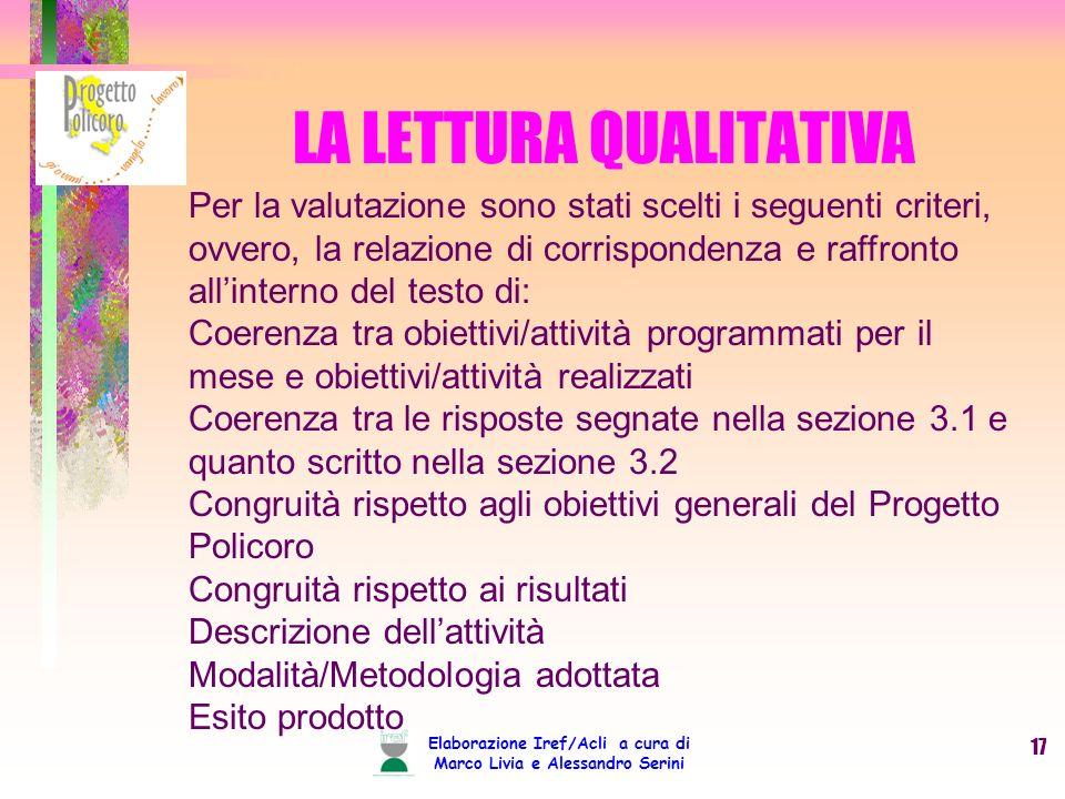 Elaborazione Iref/Acli a cura di Marco Livia e Alessandro Serini 17 LA LETTURA QUALITATIVA Per la valutazione sono stati scelti i seguenti criteri, ov