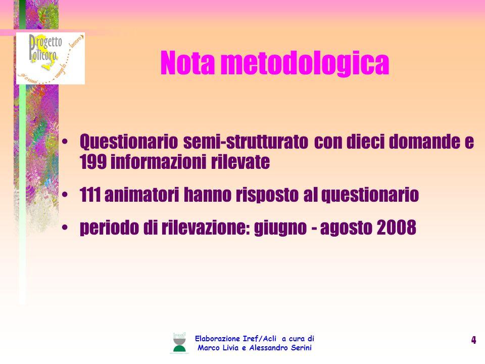 Elaborazione Iref/Acli a cura di Marco Livia e Alessandro Serini 4 Nota metodologica Questionario semi-strutturato con dieci domande e 199 informazion