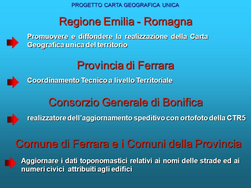 Provincia di Ferrara Coordinamento Tecnico a livello Territoriale Consorzio Generale di Bonifica realizzatore dellaggiornamento speditivo con ortofoto